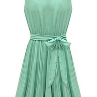Women Chiffon Sleeveless Pleated with Bow Short Casual Cocktail Dress (XL)