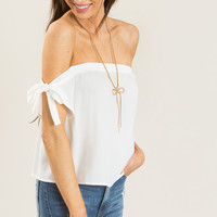 Evelyn White Off the Shoulder Bow Top