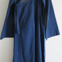 CUSTOMIZED Unisex Autumn&Spring thick cotton&linen Zen meditation gown monk suit  lay robe martial arts uniform dark blue