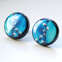Spring blossom 20 mm Tiny Post wooden earrings by paperthoughts