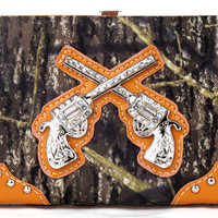 * Western Pistol Gun Orange Camouflage Clutch Opera Wallet