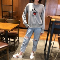 """""""Champion"""" Women Solid Color All-match Mickey Mouse Round Neck  Logo Embroidery Long Sleeve Sweater Tops"""