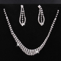 Layered Crystal Necklace With Dangle Earring Jewelry Set
