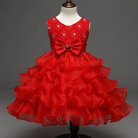Fashion sweet layers children dress for girls in party cocktail christmas red ceremonial dress baby girl dresses clothes