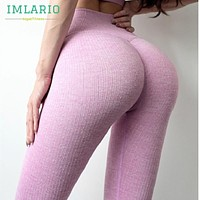 Imlario Ribbed Knit Seamless Yoga Leggings Women Striped High Waist Active Bodybuilding Tight Bottoms Sports Gym Fitness Pants