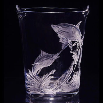 Ice Bucket Hand Engraved with a Marlin and Shark