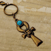 Ankh Key Chain, African Key Chain, Egyptian Ankh Key Ring, Egyptian Cross Eternal Life Bag Charm,