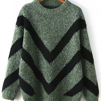 Green Chevron Pattern Sweater