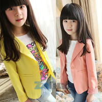 kids girls lace blazers jackets coats clothing solid color slim suits outwearcostume forchildren 2~7 years TIML66