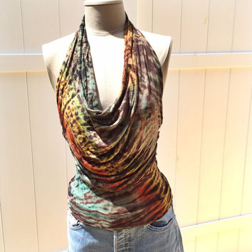 OOAK - Upcycled Festival Boho Hippie Green, Brown, Orange Tie Dye Halter Cowl Tank Top With Silver Studs And Braiding - Handmade - Medium