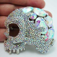Classic luxury Halloween White Color Eye Skull Crystal Rhinestone Brooch