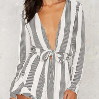 Plunge Self-tie Stripe Romper