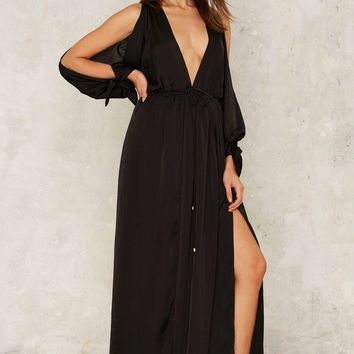 Slit This One Out Satin Maxi Dress