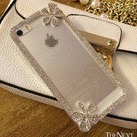 Crystal Diamond Bling Gel Transparent Phone Case Flora for iPhone 5 5S 6 6S Plus