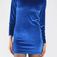 Long Sleeve Velvet Dress In Royal Blue