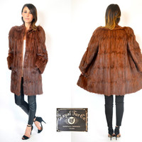 wwII era AUBURN CHINA MINK fur draped coat jacket, extra small-small