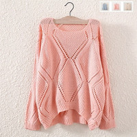 Women'S Fashion Clothes Diamond Round Neck Long-Sleeved Knit Sweater Hollow I-wish = 1946107844