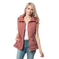Sherpa Lined Quilted Puffer Vest with Detachable Hoodie (CLEARANCE)