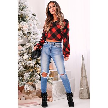 Couch Potato Plaid Pullover (Red)