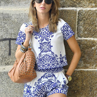 Blue White Short Sleeve Floral Crop Top With Shorts Suits [6259172676]
