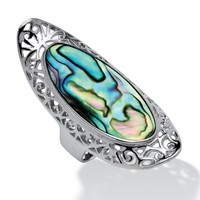 Oval-Shaped Genuine Abalone Filigree Scroll Cocktail Ring in Sterling Silver