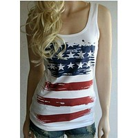 Summer Vintage American Flags Tank Top Sleeveless 4th July