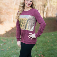 Sparkle Sweater - Burgundy