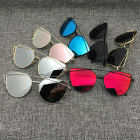 FLASH SALE Cat Eye Aviator Sunglasses for Women, Metal Frame, Mirror Sunglasses- Free Shipping