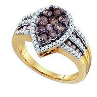Cognac Diamond Fashion Ring in 10k Gold 1.4 ctw