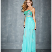Night Moves by Allure 2014 Prom Dresses - Aqua Chiffon Overskirt & Fitted Bodice Prom Dress