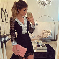 Womens Sexy V Neck Long Sleeve Party Evening Cocktail Dress
