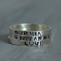 Personalized Stacking Rings - Hand Stamped Jewelry - Sterling Silver Personalized Name Ring Stacking Ring Stack Ring Initial Ring