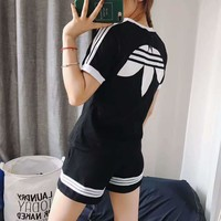 Adidas x Alexander Wang Women Fashion Print Short sleeve Top Shorts Pants Sweatpants Set Two-Piece Sportswear