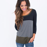 Charcoal/Olive Stripe Color Block Top