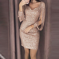 2019 Women Sexy Solid Sequined Stitching Shining Club Sheath Long Sleeved Mini Dress