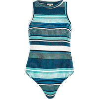 Blue stripe ribbed bodysuit