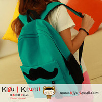 NEW Dark Green Cute Mustache Embellished Backpack Bag KK211