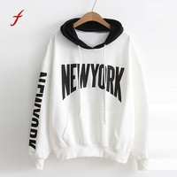 feitong Women Girls NEW YORK Letter White Black Hit Color Hoodie Sweatshirt Pocket Spring Fall Hooded Pullover Clothes