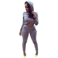 Women Autumn 2017 Fashion Gray Rompers Womens Jumpsuit Bodycon Hooded Two Piece Outfits Sportsuit Elegant Winter Sexy Playsuit