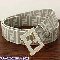 FENDI Belt Trending FF Print Letters Woman Men Smooth Buckle Belt Leather Belt White