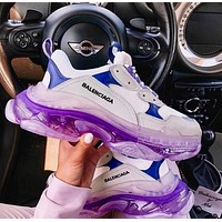 Balenciaga daddy shoes, retro retro color matching, couple casual shoes, high-end platform sneakers Purple