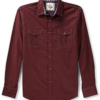 Age Of Wisdom Long-Sleeve Solid Chambray Woven Shirt - Wine