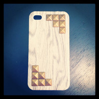 White Wash Wood Look Case with Bronze Studs by LivingYoungDesigns