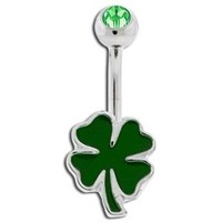 Green Clover Non Dangle Belly Button Ring