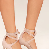 Looking Good Nude Suede Lace-Up Heels
