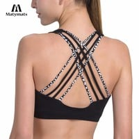 Matymats Yoga Bra Women's Wire-free with Removable Pads Support for Pilates, Walking, Running, Dance Gym Workout Sports Bra