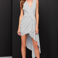 Elegant Gathering Grey High-Low Dress