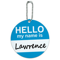 Lawrence Hello My Name Is Round ID Card Luggage Tag