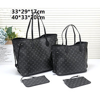 LV tide brand female classic old flower shopping bag mother bag two-piece Black print