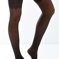 Polka Dot Lace Garter Tight - Urban Outfitters